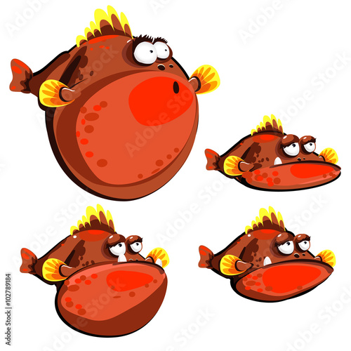 Cute red fish ball, four emotions, isolated images Poster