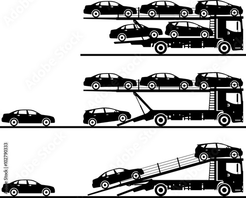 Fotografia Set of silhouettes auto transporters isolated on white background in flat style in different positions