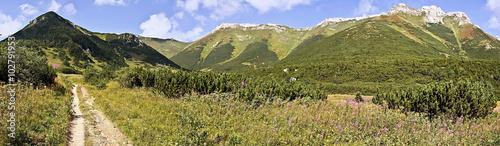 Photo  panorama of limestone Belianske Tatry mountains in Slovakia during hiking from B