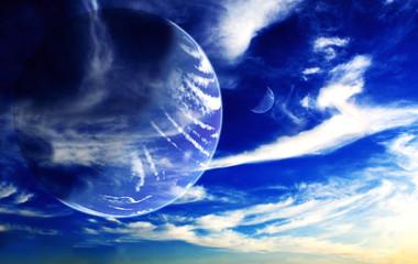 Fototapeta niebieskie niebo z planetą