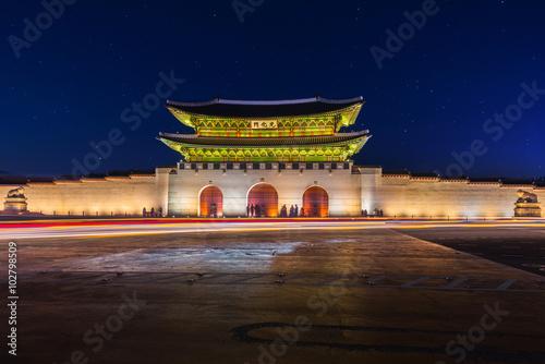 Korea,Gyeongbokgung palace at night in Seoul, South Korea Poster