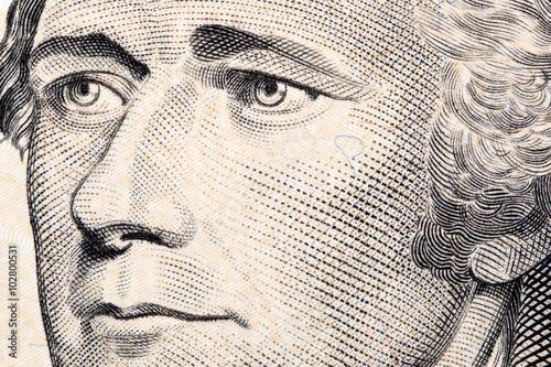 Cuadros en Lienzo Alexander Hamilton, a close-up portrait on US ten dollars