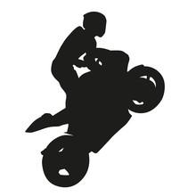 Motorcycle Racing Vector Silhouette, Wheelie