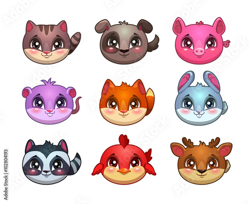 Photo  Funny cartoon little cute animals faces