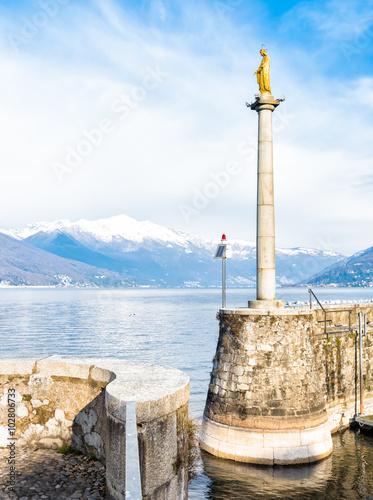 Photo  Harbor wall of Luino on the lake Maggiore, Italy