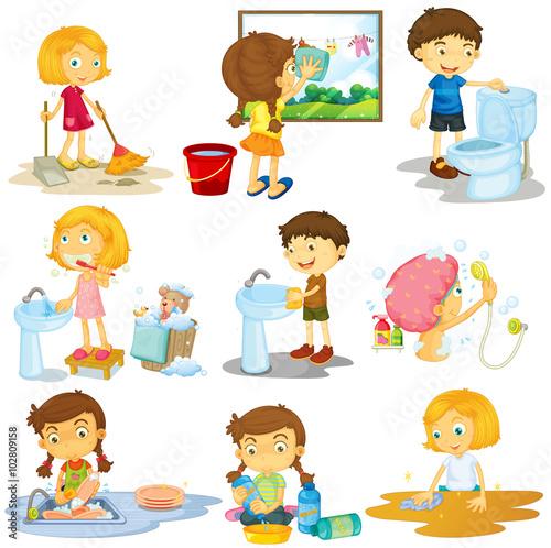 Tela Children doing different chores