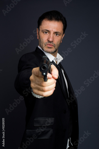 Gunman costume, police or criminal плакат