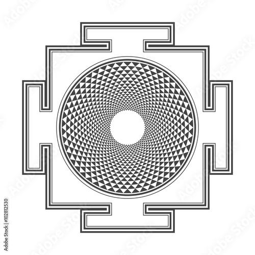 monocrome outline Sahasrara yantra illustration. Canvas Print