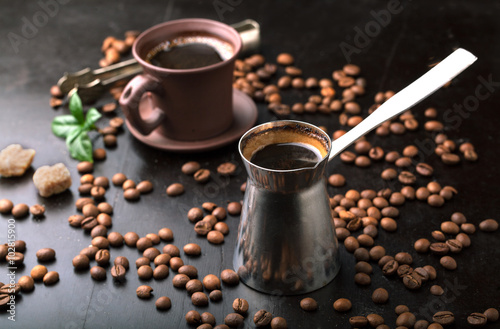 Photo Stands Cafe Cup of coffee, coffee beans and coffee pot