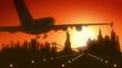 New York USA America Skyline Sunrise Landing