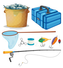 Fishing Set With Fishing Pole And Tools