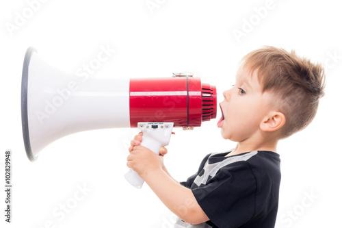 fototapeta na drzwi i meble süßer junge mit megaphone