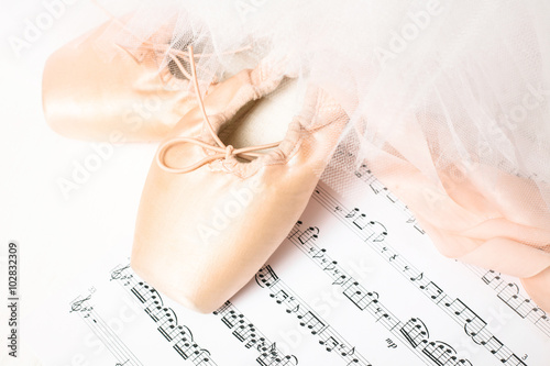 fototapeta na lodówkę Ballet shoes, skirt and music sheet