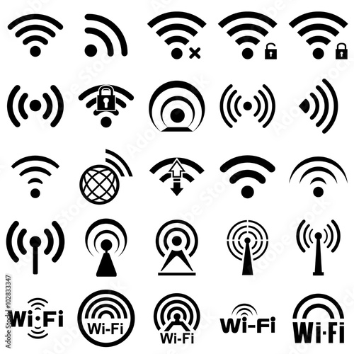 Cuadros en Lienzo  Set of twenty five wifi icons
