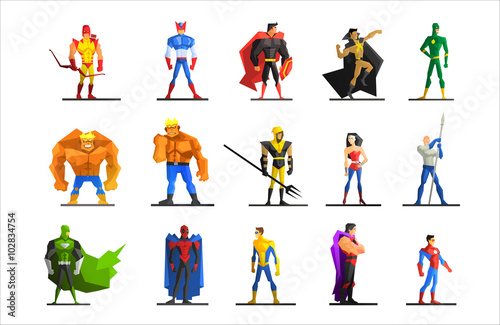Fotografía  Superheroes in Different Poses and Costumes Vector Set
