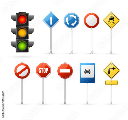Fotografia Traffic Light and Road Sign Set. Vector