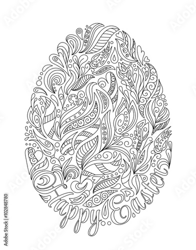 Easter egg with pattern in zentangle style. Coloring book ...