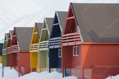 Wall Murals Arctic Residental houses in Longyearbyen, Spitsbergen (Svalbard). Norway
