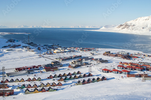 In de dag Poolcirkel Panoramic views of Longyearbyen, Spitsbergen (Svalbard)