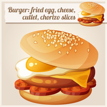 Burger With Fried Egg, Cheddar Cheese, Beef Cutlet, Chorizo Slices. Detailed Vector Icon