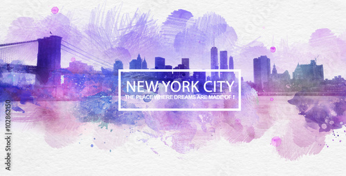 Fotografia  Purple New York City Dreams Postcard Painting