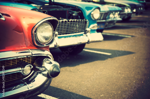 Spoed Foto op Canvas Vintage cars Classic cars in a row