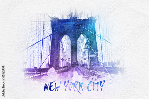 Fotografia  Brooklyn bridge with New York City text