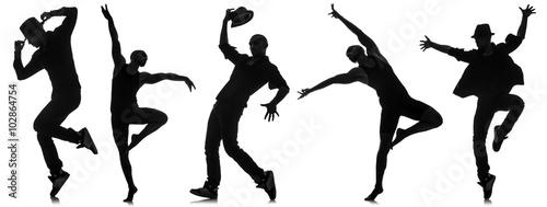 Küchenrückwand aus Glas mit Foto Tanzschule Silhouettes of dancers in dancing concept