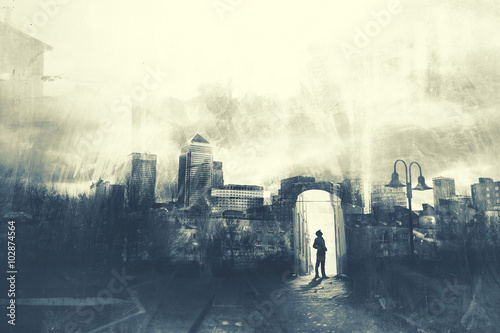 Fotografia  Man walking in a mystic dark city