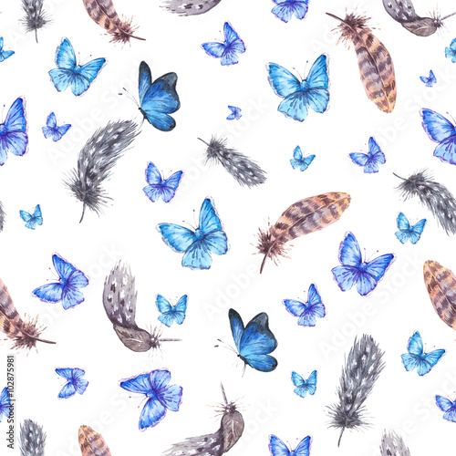 Cotton fabric Watercolor seamless background with feathers and blue butterflie