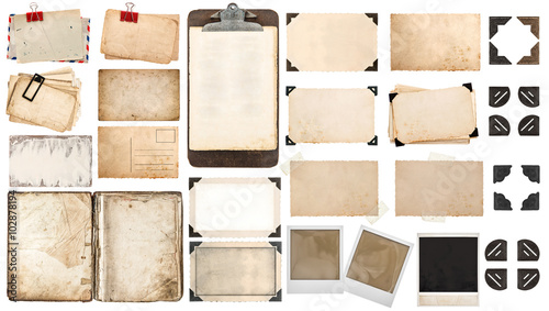 Foto Paper sheets, book, old photo frames corners, clipboard