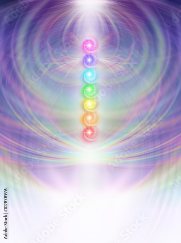 Photo  Seven Chakras in subtle energy field - Symmetrical soft pastel colored intricate