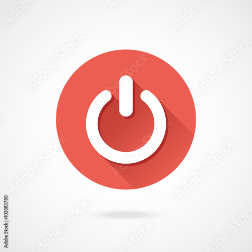 Fényképezés  Shut down icon. Vector round shutdown icon with long shadow