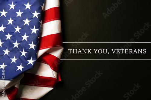 Text Thank A You, Veterans on black background near American flag Tapéta, Fotótapéta