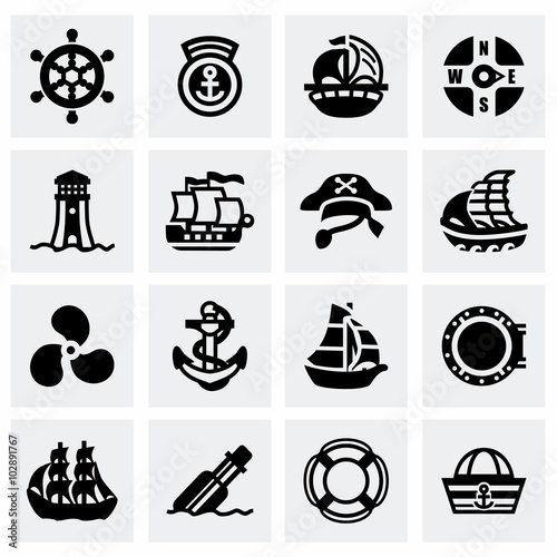 Vector Saiboat icon set Canvas Print
