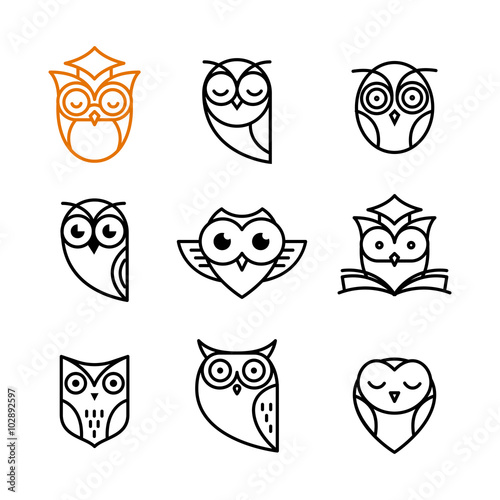 Aluminium Prints Owls cartoon Owl outline icons collection