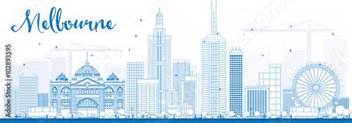 Fototapeta premium Melbourne Skyline z niebieskimi budynkami.