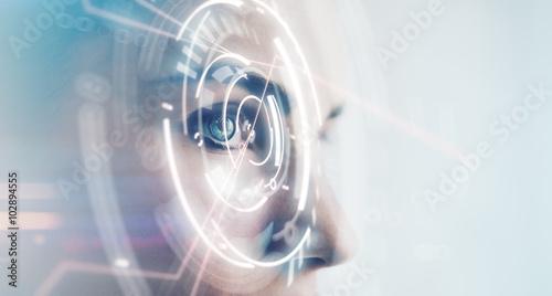 Obraz Closeup of woman eye with visual effects, isolated on white background. Horizontal - fototapety do salonu