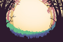 Creative Illustration And Innovative Art: Forest Frame! Realistic Fantastic Cartoon Style Artwork Scene, Wallpaper, Story Background, Card Design