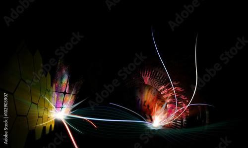 Fotobehang - line with light background