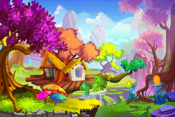 Plakat Creative Illustration and Innovative Art: The Tree House Scene. Realistic Fantastic Cartoon Style Artwork Scene, Wallpaper, Story Background, Card Design