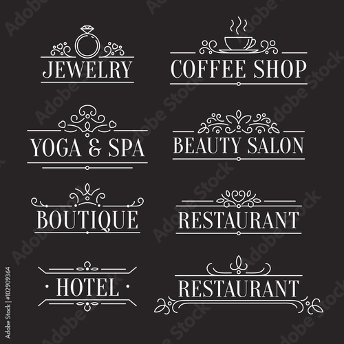 Elegant Design Outline Logo Template Ornamental Line Signs For Restaurants Boutiques Jewelry Fashion Beauty Salons Hotels Coffee And Spa