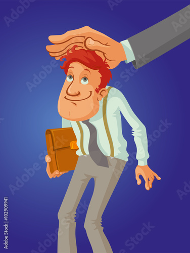 Aluminium Prints Wild West good employee with his boss hand patting his on the head