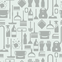 Housekeeping Lifestyle Seamless Pattern With Cleaning Icons. Background For Backdrop To Site, Textile Printing And Wrapping Paper