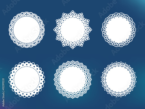 Valokuva  Vector decorative lace frames. Doily templates for logo, names