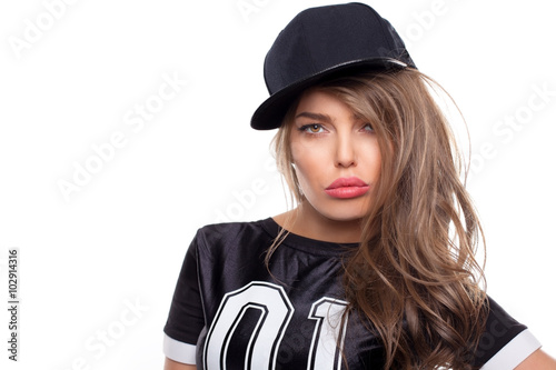 Fotografie, Obraz  Young hip hop woman portrait isolated on white bg