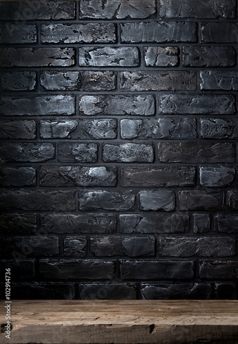 Brick wall and table Canvas Print