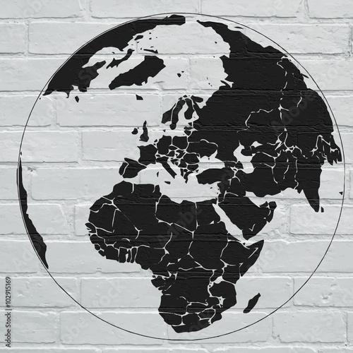 Planisphère street art Canvas Print