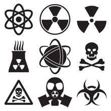 Vector Black Atom Icons Set Nuclear Danger