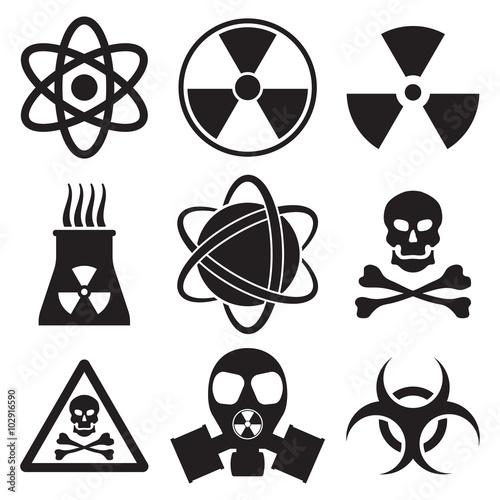 Cuadros en Lienzo  Vector black atom icons set nuclear danger